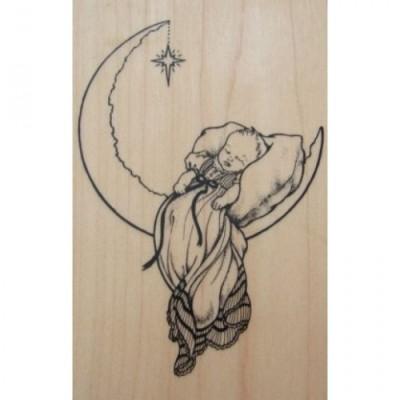 Tampón de Tinta Niño Durmiendo en la luna G-1533