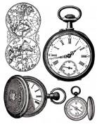 Sellos Stamperia WTK079 Relojes, Brujula y Mapa Mundi