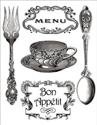 Sellos Stamperia WTK081 Menu, Bon appetit, Taza y Cubiertos