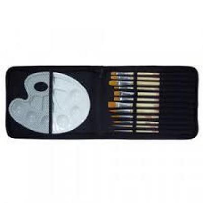 Estuche con 12 pinceles y paleta de plástico Talens 9099142M