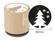 Sello de madera y caucho árbol de Navidad