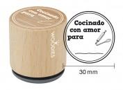 Sello de madera y caucho Cocinado con amor para