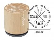 Sello de madera y caucho Cocinado con amor 2
