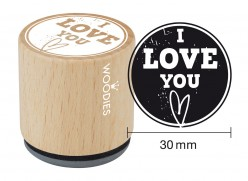Sello de madera y caucho I love you