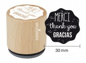 Sello de madera y caucho Merci Thank you Gracias
