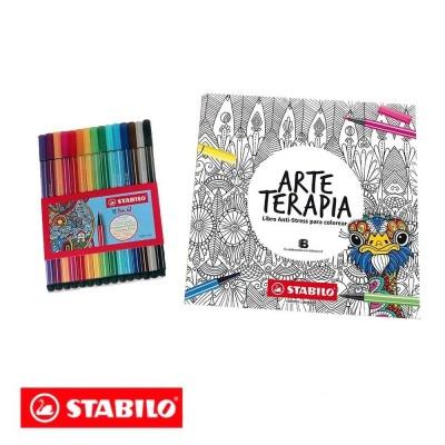 Arteterapia Stabilo Juego caja 15 rotuladores + libro para colorear