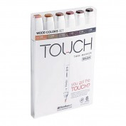 Touch Marker Brush Set 6 colores madera
