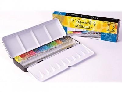 Caja de acuarelas Sennelier Aquarelle 12 1/2 godets