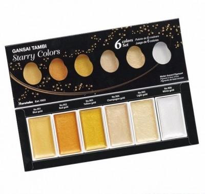 Gansai Tambi Starry Caja 6 acuarelas doradas