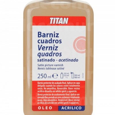Barniz cuadros satinado Titan 250 ml.