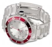 Reloj pulsera deportivo transparente Rojo vi1817