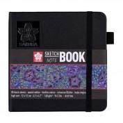 SAKURA Cuaderno/sketchbook 12x12 cm 80 páginas papel negro 140 g