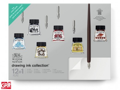 Winsor&Newton Set Caligrafía Drawing Ink Collection 12+1