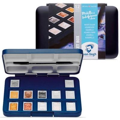 Caja 12 pastillas acuarelas van Gogh colores metálicos