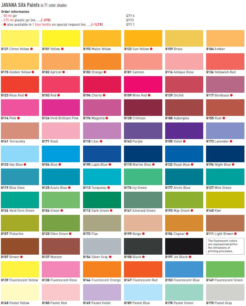 Javana pintura sobre seda 50 ml violeta azulado - Gama de colores de pinturas ...